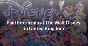 Paid Internship at The Walt Disney in UK