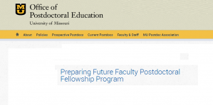 University of Missouri Preparing Future Faculty Postdoctoral Fellowship Program 2017, USA