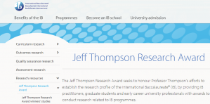 International Baccalaureate Jeff Thompson Research Award 2018