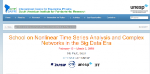 School on Nonlinear Time Series Analysis and Complex Networks in the Big Data Era, 19 February – 2 March 2018, Brazil