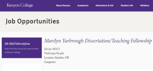 Kenyon marily yarbrough dissertation teaching fellowship
