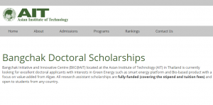 Asian Institute of Technology Bangchak Doctoral Scholarships 2018, Thailand