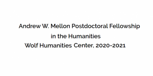 Bourse postdoctorale Andrew W. Mellon en sciences humaines