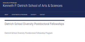 University of Pittsburgh Dietrich School Diversity Postdoctoral Fellowships 2018, USA