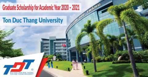 Ton Duc Thang University Graduate Scholarship for Academic Year 2020 – 2021 (Master, PhD, Postdoctoral)